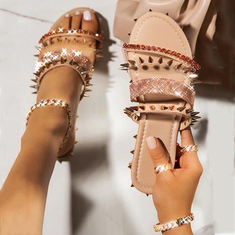 Women Flat Heel Open Toe Crystal Rivet Slippers