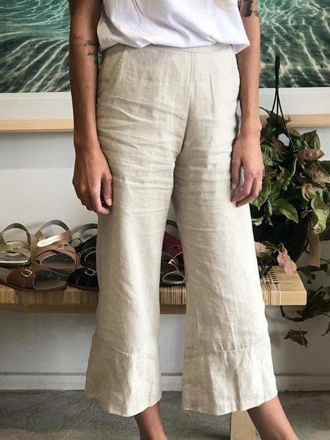 Women Ruffled Hem Pockets Solid Casual Capri Pants