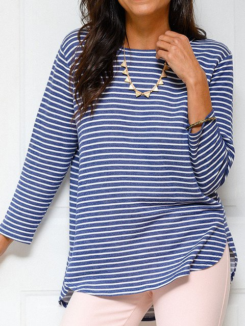 Women Striped High Low Casual T-Shirts