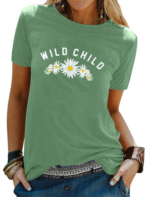 Green Casual Crew Neck Floral Shirts & Tops