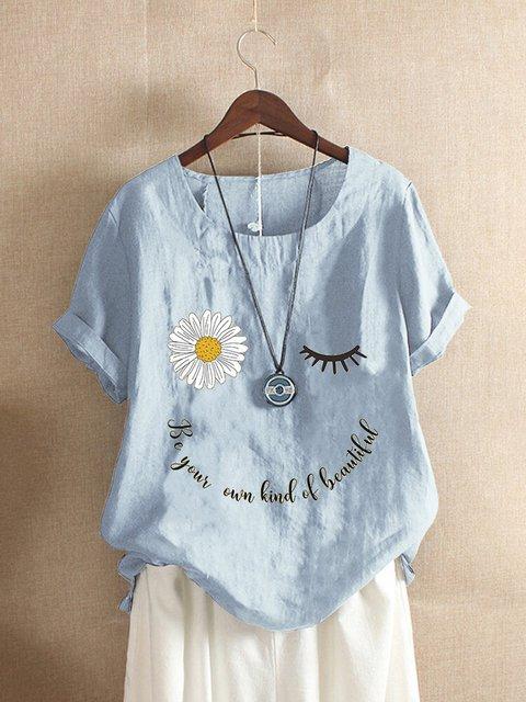Sun Flower Alphabet Printed Cotton Blended Casual Short Sleeve Top