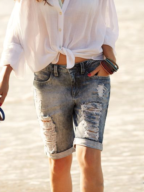 Plus size Denim Casual Denim Shorts