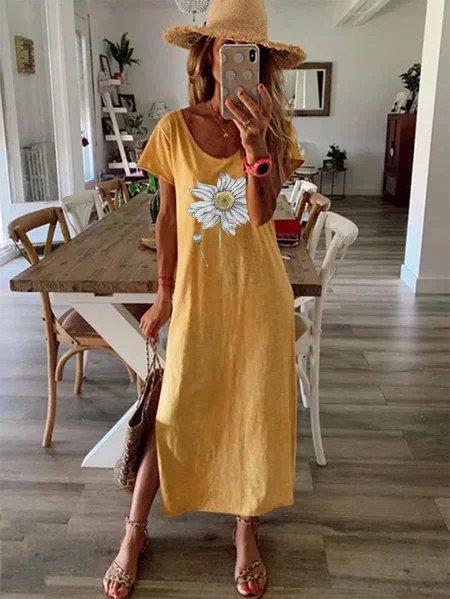 Floral print dress loose tube dress