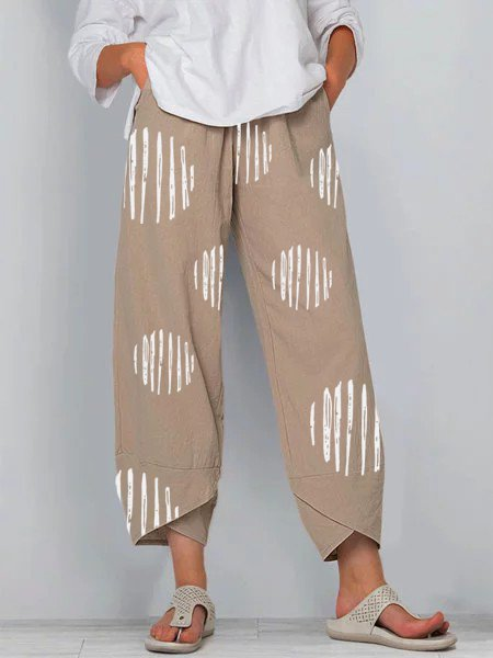 Cotton-Blend Casual Polka Dots Pants