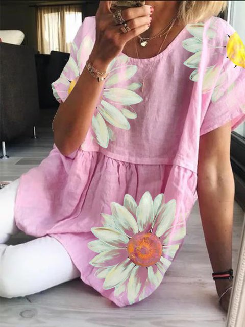 Pink Round Neck Casual Short Sleeve Tops