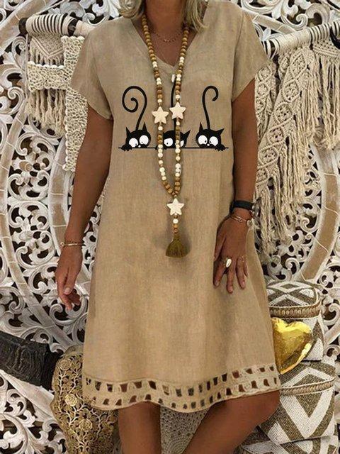 Khaki Casual Printed Dresses