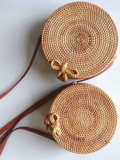 Round Rattan Bag Shoulder Straps Natural Chic Straw Bags
