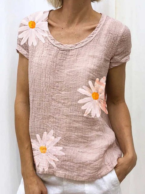 Pink Cotton Casual Patchwork Shirts & Tops