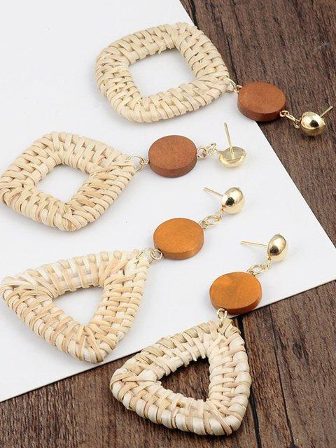 Natural Straw Handmade Earrings