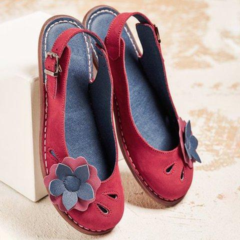 Women Slide Round Toe Cork Flat Heel Pu Flower Sandals