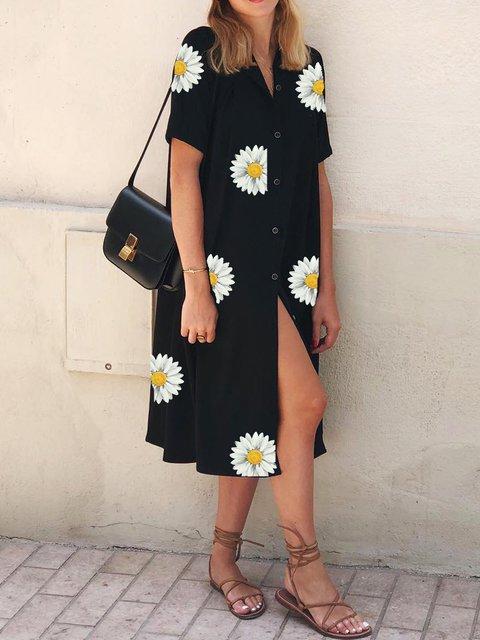Black Floral Short Sleeve Dresses