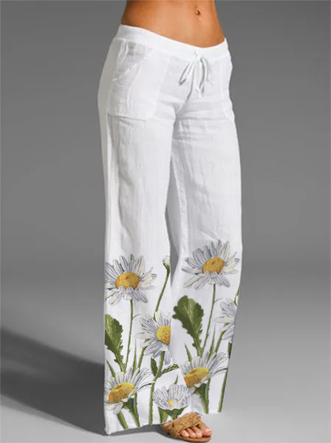 White Floral Holiday Cotton Pants