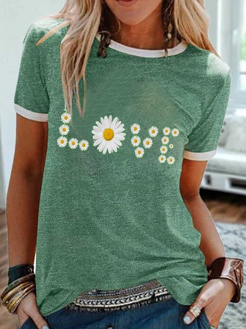 Green Casual Short Sleeve Printed Shirts & Tops