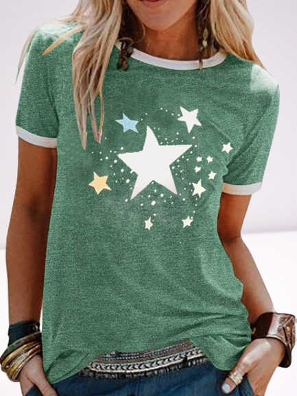 Star print crew neck contrast color casual T-shirt