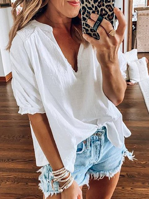 White Cotton-Blend Short Sleeve Casual V Neck Shirts & Tops