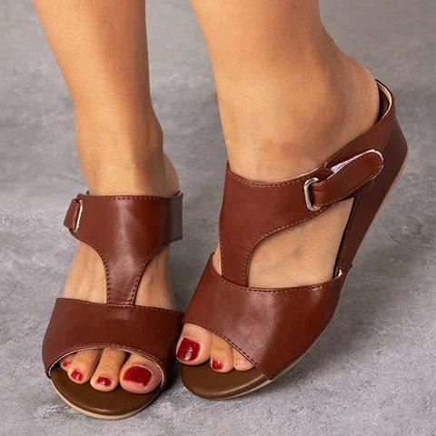 Wedge Heel Peep Toe Slip-On Summer Artificial Leather Slippers