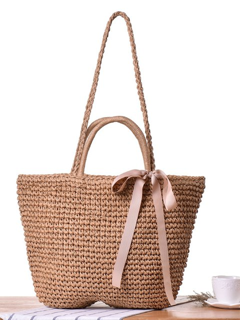 Straw Handbags Women Handwoven Hand Beach Tote Woven Handle Shoulder Bags