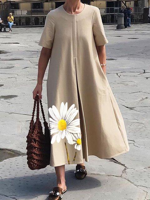 Khaki Casual Floral Cotton Dresses