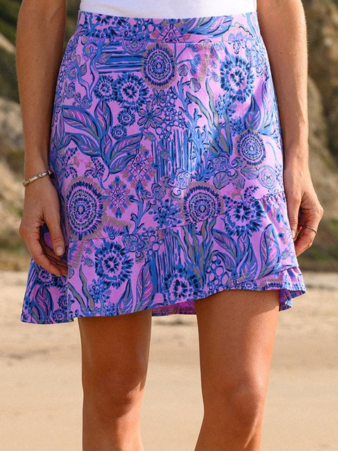 Women Elastic Waist Back Floral Printed Summer Skirts