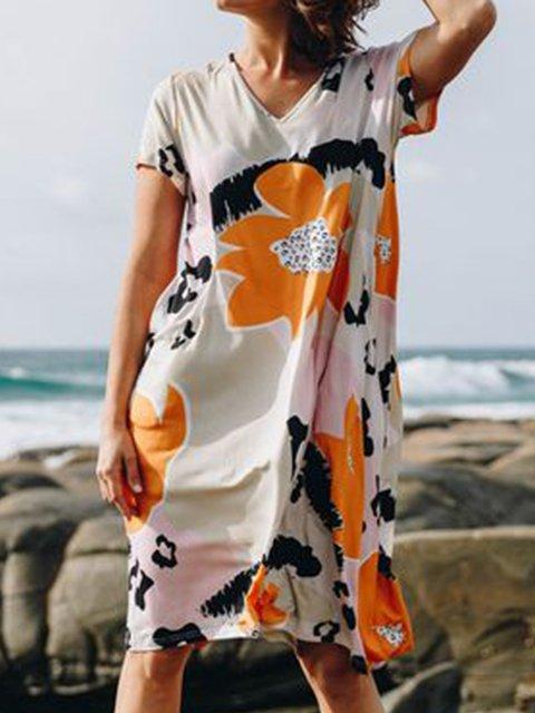 Women Floral Kaftan Batwing Shift Summer Dresses