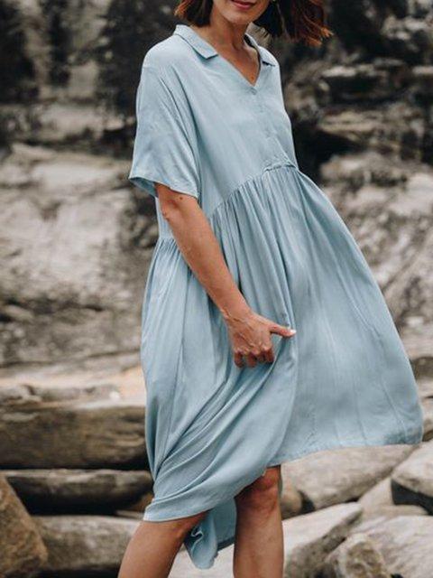 Women Caftan Pockets Solid Casual Dresses