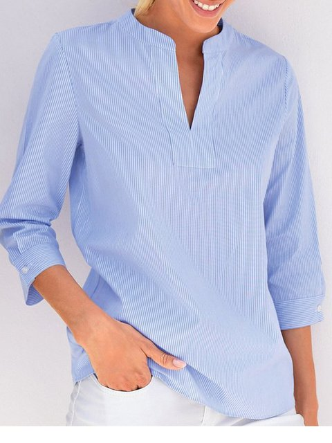 Women Striped 3/4 Sleeves V-Neck Casual Blouses
