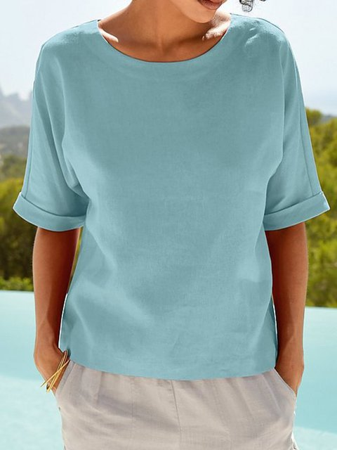 Women Round Neck Short Sleeve Solid Casual Tops