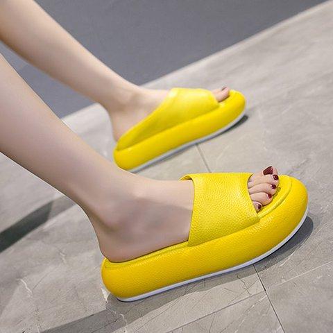 Women Slide Peep Toe Creeper Heel Pu Date Spring Slippers
