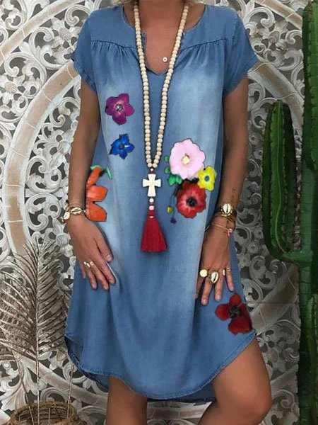 Casual Floral V Neck One-Pieces
