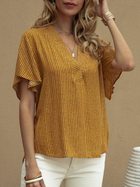Yellow Short Sleeve Casual V Neck Shirts & Tops