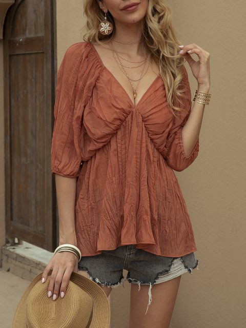 Orang A-Line Short Sleeve Tulle Solid Shirts & Tops