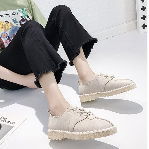 Women PU Round Toe Flat Heel Summer Lace-Up Holiday Loafers