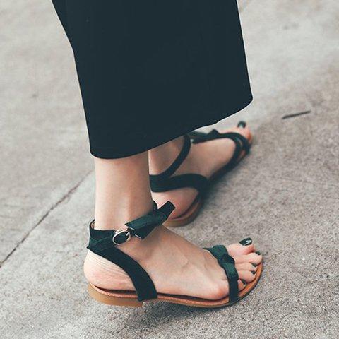 Women Buckle Strap Flat Heel Bowknot Date Sandals