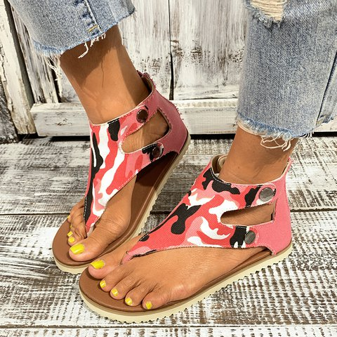 Women Canvas Low Heel Sandals