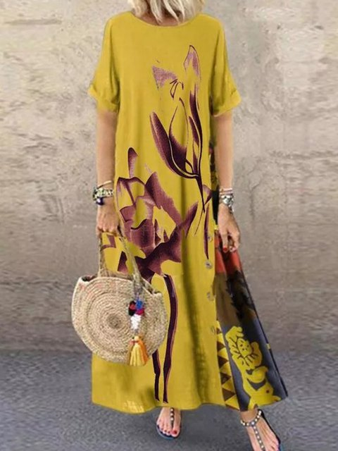 Yellow Cotton-Blend Casual Dresses
