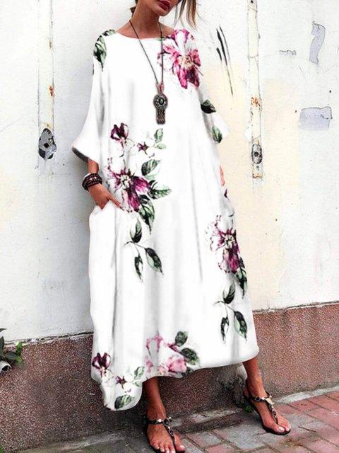 White Crew Neck Long Sleeve Paneled Plants Dresses