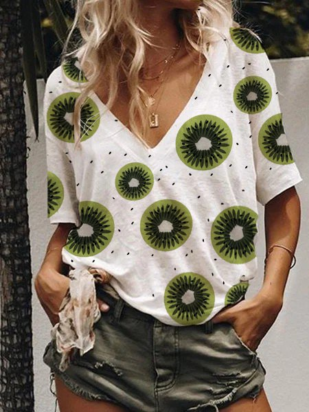 Fruit print V-neck casual T-shirt and loose top