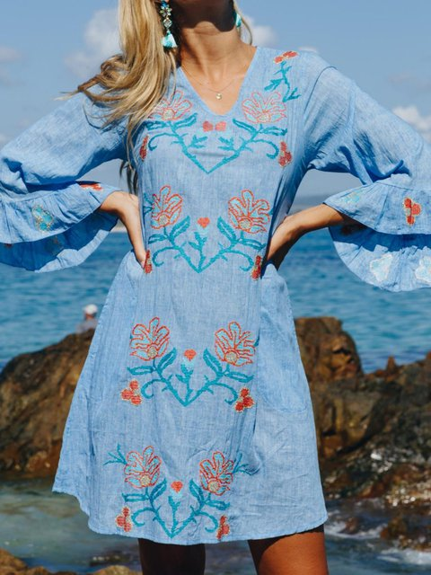 Floral Embroidery Mini Dress Plus Size Boho Frill Sleeve Dresses