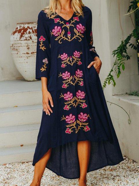 Floral Embroidery Maix Dress Plus Size Long Sleeve Dresses