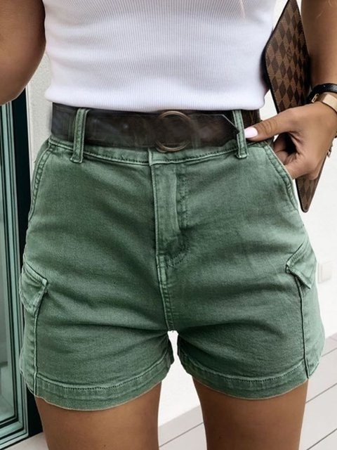 Green Pockets Casual Solid Pants