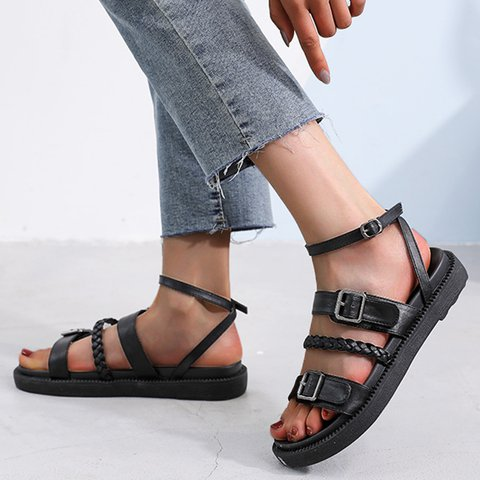 Braided Strap Buckle Open Toe Comfy Sandals