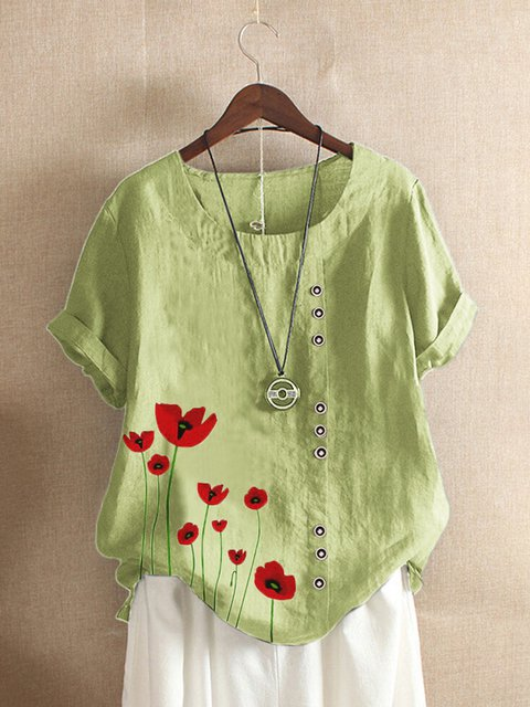 Vintage Casual Plus Size Crew Neck Floral Shirts Tops