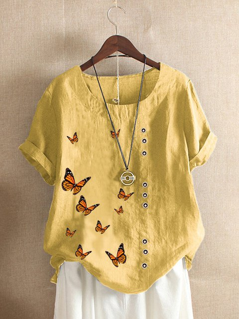 Vintage Casual Plus Size Butterflies Print Shirts Tops