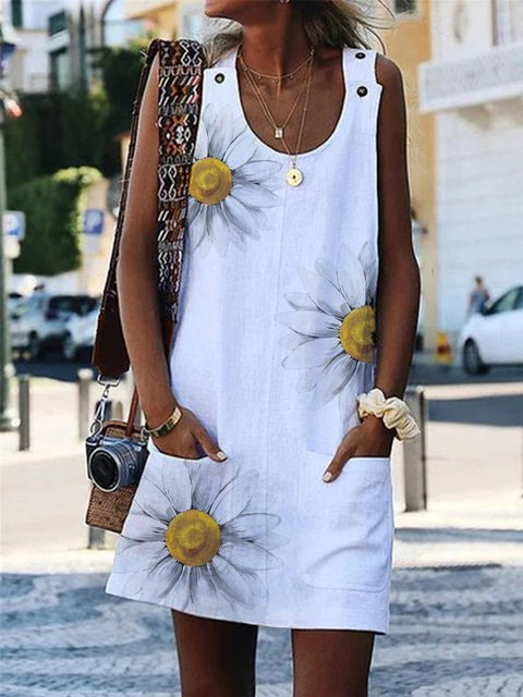 White Cotton-Blend Crew Neck Casual Sleeveless Dresses