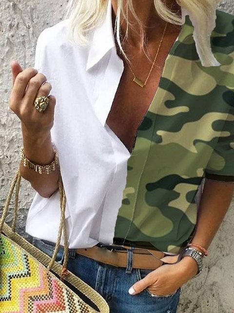 Camouflage Greeen Printed Colo-block Half Sleeve Blouse