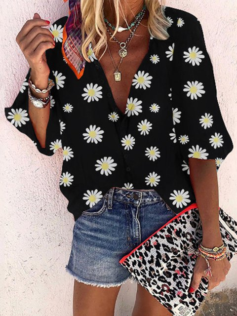 Casual 3/4 Sleeve V Neck Shirts & Tops