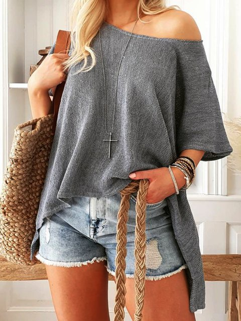 Gray Round Neck Casual Plain Shirts & Tops