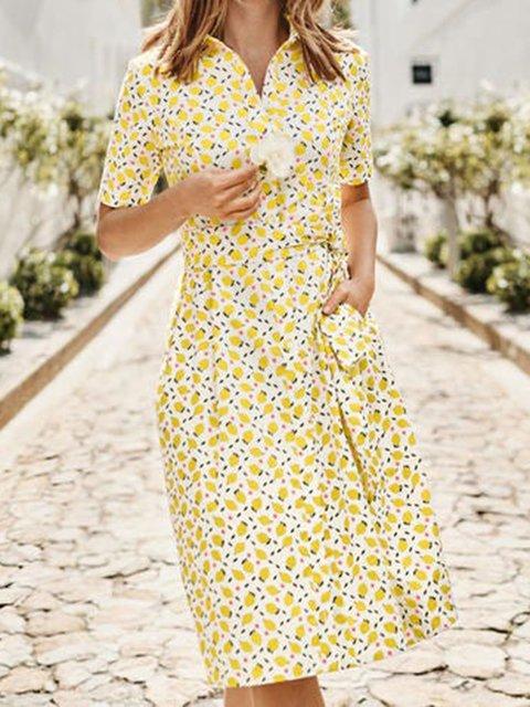 Yellow Floral Casual Shirt Collar Dresses