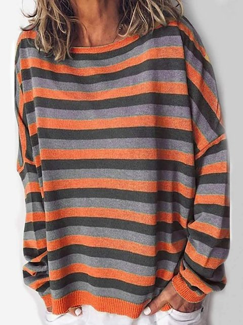 Stripe Blouse Round Neck Long Sleeve Casual Sweatshirt