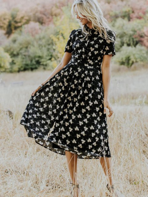 Black Cotton-Blend Short Sleeve Dresses